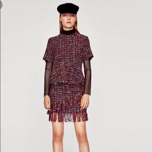 Zara Skirts - Zara NWT Tweed Fringed Skirt